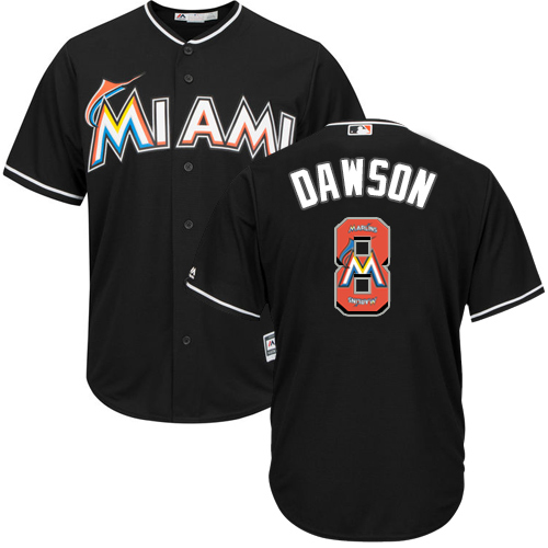 Men's Majestic Miami Marlins #8 Andre Dawson Authentic Black Team Logo Fashion Cool Base MLB Jersey