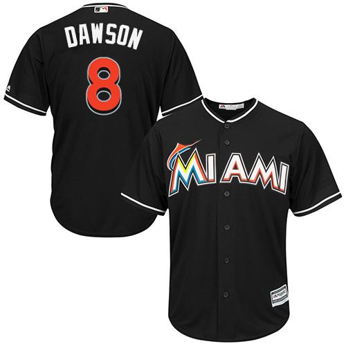Men's Majestic Miami Marlins #8 Andre Dawson Replica Black Alternate 2 Cool Base MLB Jersey