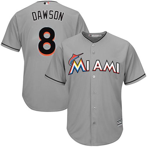 Men's Majestic Miami Marlins #8 Andre Dawson Replica Grey Road Cool Base MLB Jersey