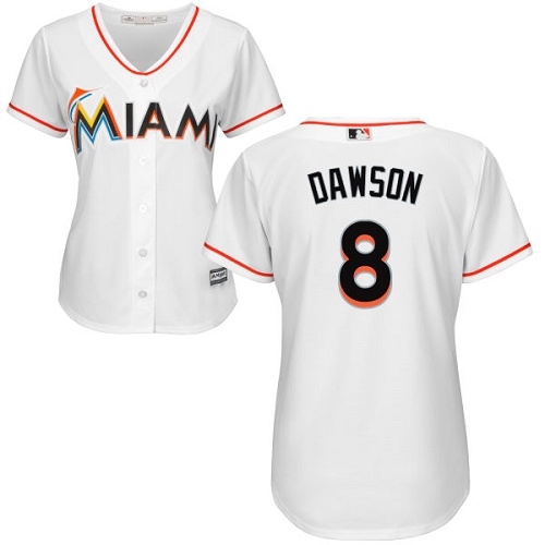 Women's Majestic Miami Marlins #8 Andre Dawson Authentic White Home Cool Base MLB Jersey