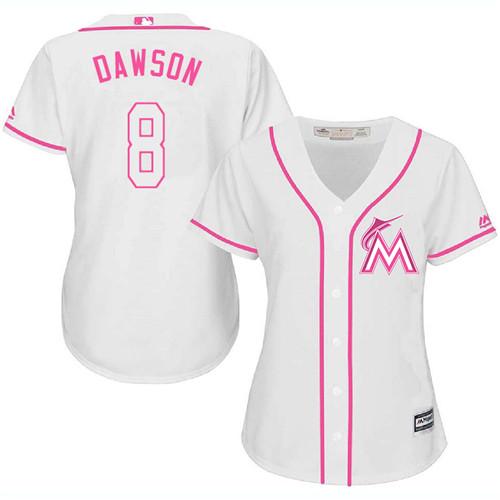 Women's Majestic Miami Marlins #8 Andre Dawson Replica White Fashion Cool Base MLB Jersey
