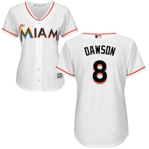 Women's Majestic Miami Marlins #8 Andre Dawson Replica White Home Cool Base MLB Jersey