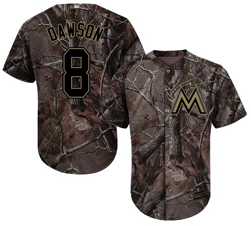 Youth Majestic Miami Marlins #8 Andre Dawson Authentic Camo Realtree Collection Flex Base MLB Jersey