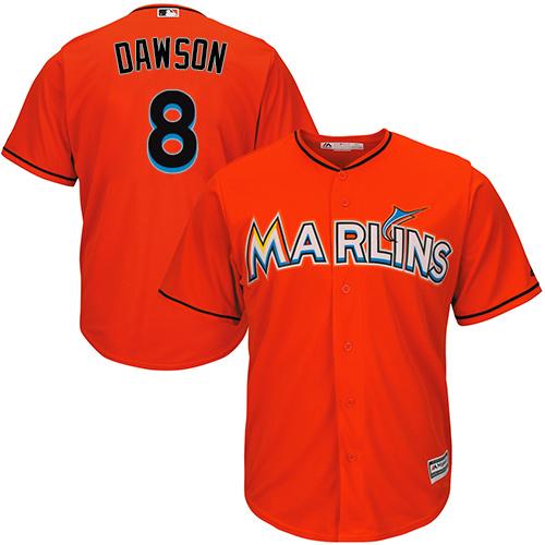 Youth Majestic Miami Marlins #8 Andre Dawson Replica Orange Alternate 1 Cool Base MLB Jersey