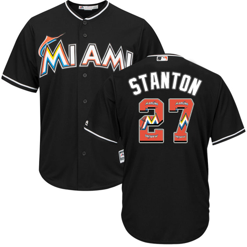 Men's Majestic Miami Marlins #27 Giancarlo Stanton Authentic Black Team Logo Fashion Cool Base MLB Jersey