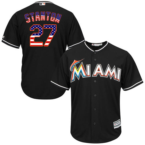 Men's Majestic Miami Marlins #27 Giancarlo Stanton Authentic Black USA Flag Fashion MLB Jersey