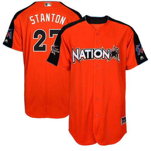 Men's Majestic Miami Marlins #27 Giancarlo Stanton Authentic Orange National League 2017 MLB All-Star MLB Jersey