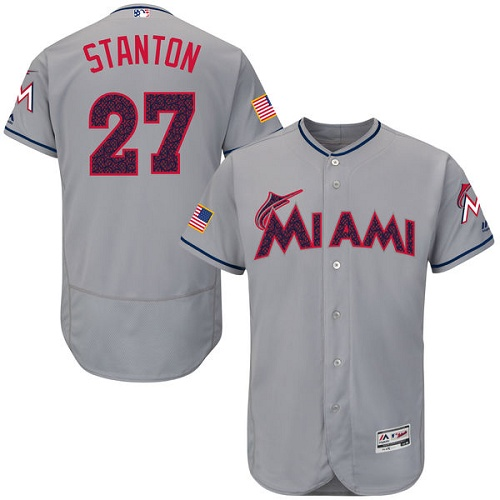 Men's Majestic Miami Marlins #27 Giancarlo Stanton Grey Fashion Stars & Stripes Flex Base MLB Jersey