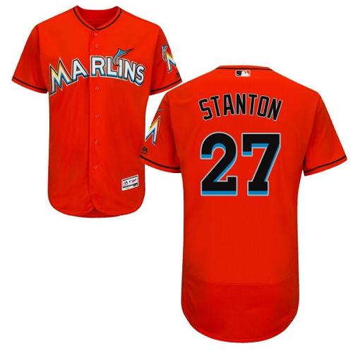 Men's Majestic Miami Marlins #27 Giancarlo Stanton Orange Flexbase Authentic Collection MLB Jersey