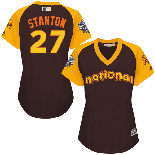 Women's Majestic Miami Marlins #27 Giancarlo Stanton Authentic Brown 2016 All-Star National League BP Cool BaseMLB Jersey