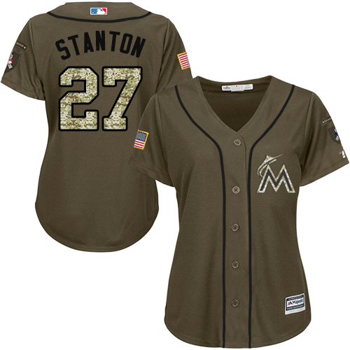 Women's Majestic Miami Marlins #27 Giancarlo Stanton Authentic Green Salute to Service MLB Jersey