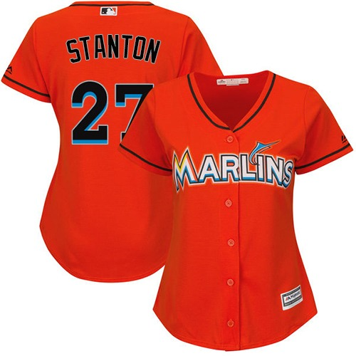 Women's Majestic Miami Marlins #27 Giancarlo Stanton Authentic Orange Alternate 1 Cool Base MLB Jersey