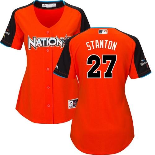 Women's Majestic Miami Marlins #27 Giancarlo Stanton Authentic Orange National League 2017 MLB All-Star MLB Jersey