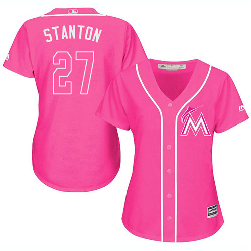 Women's Majestic Miami Marlins #27 Giancarlo Stanton Authentic Pink Fashion Cool Base MLB Jersey