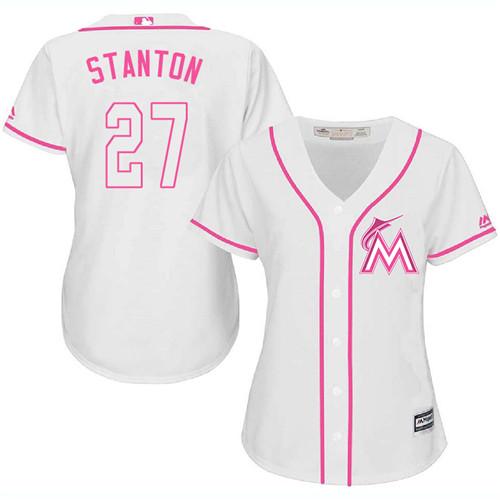 Women's Majestic Miami Marlins #27 Giancarlo Stanton Authentic White Fashion Cool Base MLB Jersey