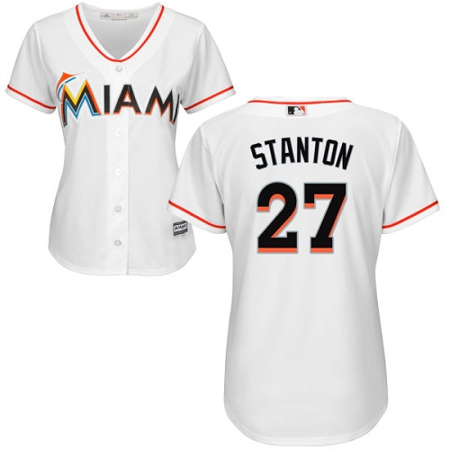 Women's Majestic Miami Marlins #27 Giancarlo Stanton Authentic White Home Cool Base MLB Jersey
