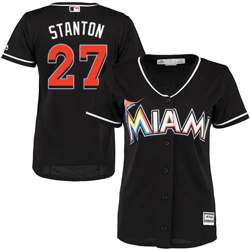 Women's Majestic Miami Marlins #27 Giancarlo Stanton Replica Black Alternate 2 Cool Base MLB Jersey