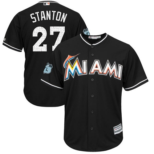 Youth Majestic Miami Marlins #27 Giancarlo Stanton Authentic Black 2017 Spring Training Cool BaseMLB Jersey