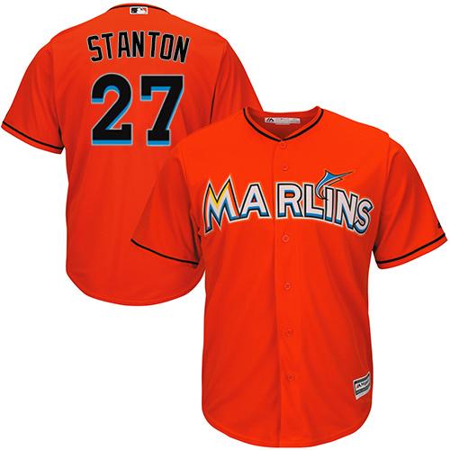 Youth Majestic Miami Marlins #27 Giancarlo Stanton Authentic Orange Alternate 1 Cool Base MLB Jersey