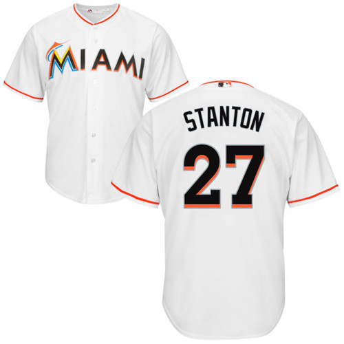 Youth Majestic Miami Marlins #27 Giancarlo Stanton Authentic White Home Cool Base MLB Jersey