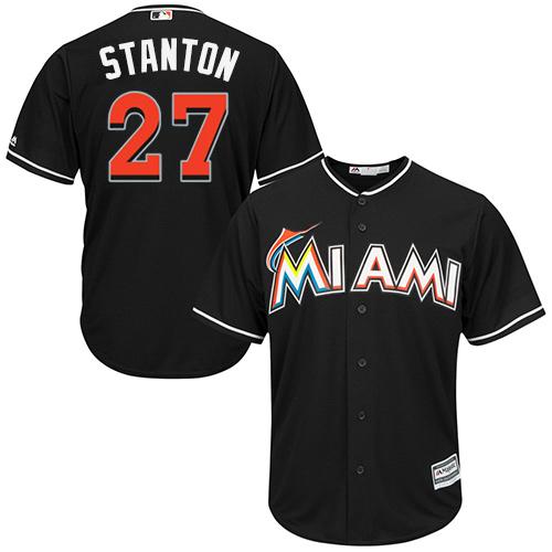 Youth Majestic Miami Marlins #27 Giancarlo Stanton Replica Black Alternate 2 Cool Base MLB Jersey