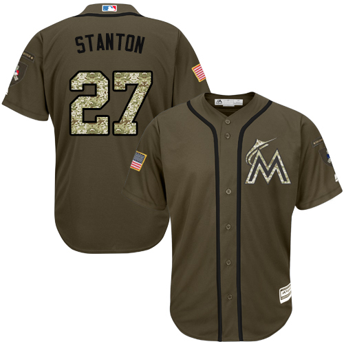 Youth Majestic Miami Marlins #27 Giancarlo Stanton Replica Green Salute to Service MLB Jersey