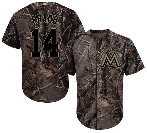 Men's Majestic Miami Marlins #14 Martin Prado Authentic Camo Realtree Collection Flex Base MLB Jersey