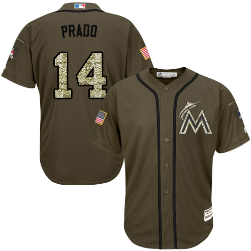Men's Majestic Miami Marlins #14 Martin Prado Authentic Green Salute to Service MLB Jersey