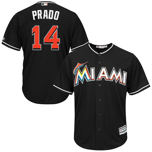 Men's Majestic Miami Marlins #14 Martin Prado Replica Black Alternate 2 Cool Base MLB Jersey
