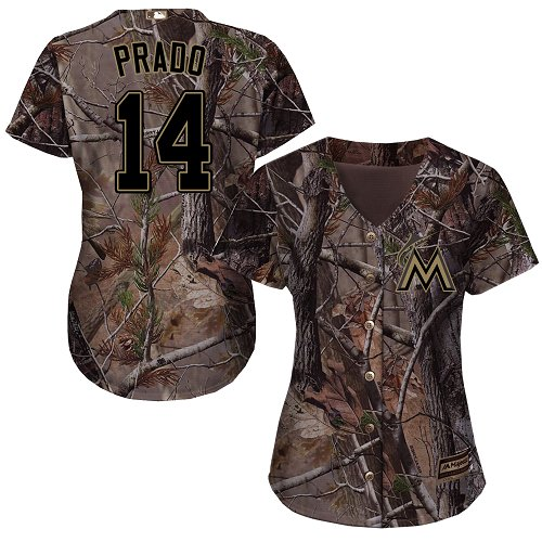 Women's Majestic Miami Marlins #14 Martin Prado Authentic Camo Realtree Collection Flex Base MLB Jersey