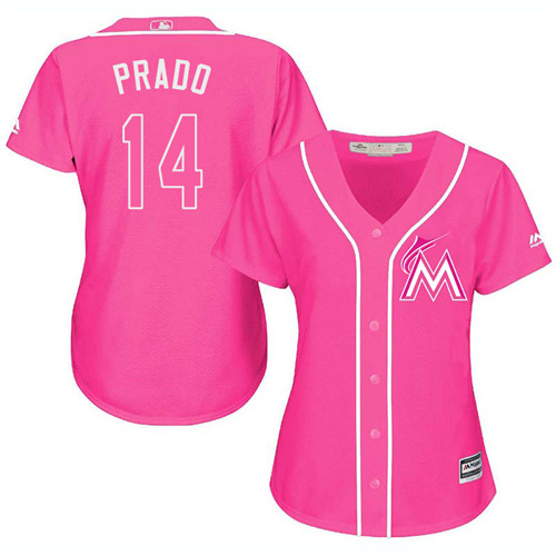 Women's Majestic Miami Marlins #14 Martin Prado Authentic Pink Fashion Cool Base MLB Jersey