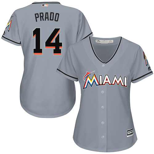 Women's Majestic Miami Marlins #14 Martin Prado Replica Grey Road Cool Base MLB Jersey