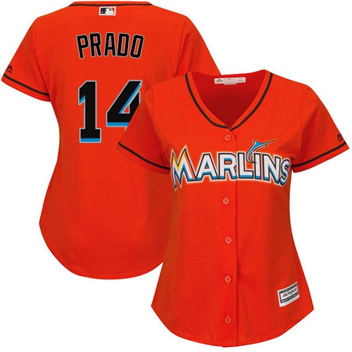 Women's Majestic Miami Marlins #14 Martin Prado Replica Orange Alternate 1 Cool Base MLB Jersey