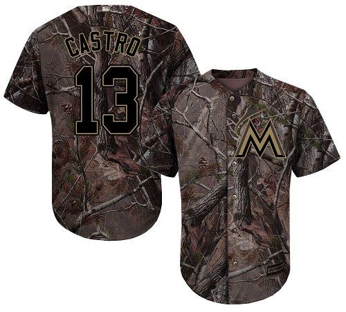 Men's Majestic Miami Marlins #13 Starlin Castro Authentic Camo Realtree Collection Flex Base MLB Jersey
