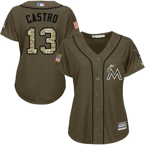 Women's Majestic Miami Marlins #13 Starlin Castro Authentic Green Salute to Service MLB Jersey