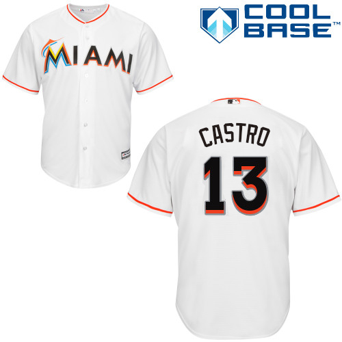 Youth Majestic Miami Marlins #13 Starlin Castro Replica White Home Cool Base MLB Jersey