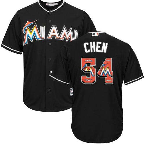 Men's Majestic Miami Marlins #54 Wei-Yin Chen Authentic Black Team Logo Fashion Cool Base MLB Jersey