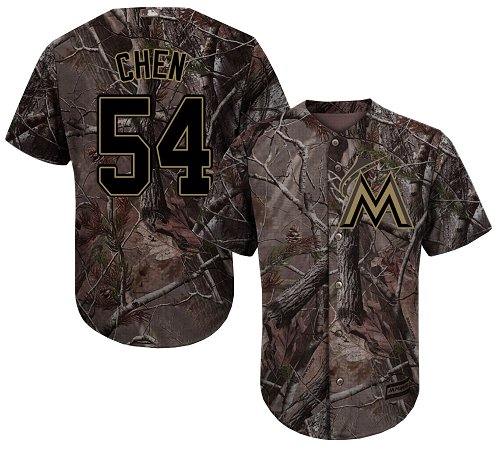 Men's Majestic Miami Marlins #54 Wei-Yin Chen Authentic Camo Realtree Collection Flex Base MLB Jersey