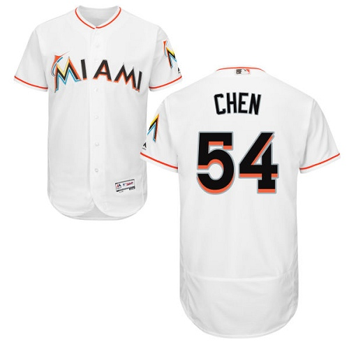 Men's Majestic Miami Marlins #54 Wei-Yin Chen White Home Flex Base Authentic Collection MLB Jersey