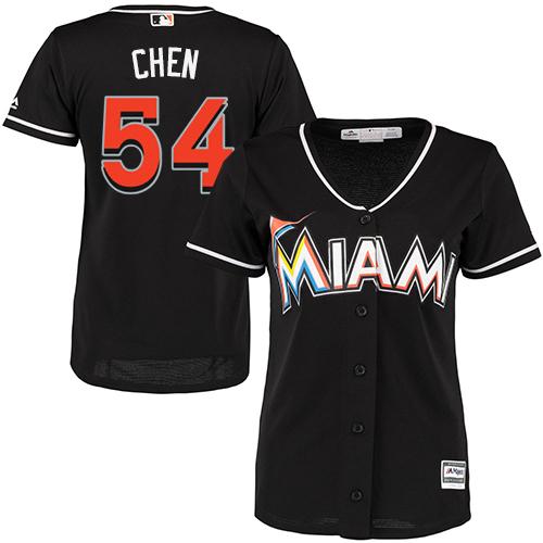 Women's Majestic Miami Marlins #54 Wei-Yin Chen Replica Black Alternate 2 Cool Base MLB Jersey