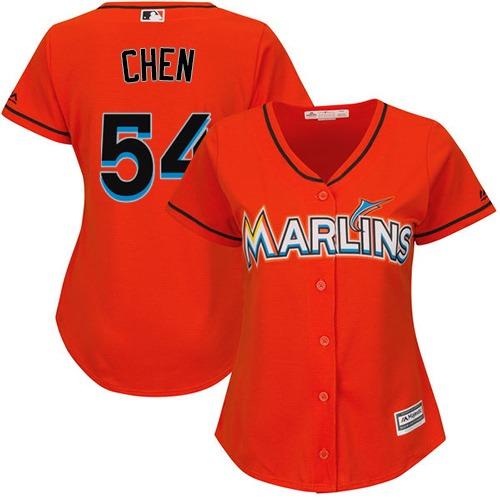 Women's Majestic Miami Marlins #54 Wei-Yin Chen Replica Orange Alternate 1 Cool Base MLB Jersey