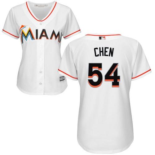 Women's Majestic Miami Marlins #54 Wei-Yin Chen Replica White Home Cool Base MLB Jersey