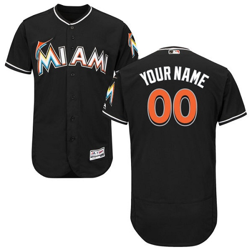 Men's Majestic Miami Marlins Customized Black Alternate Flex Base Authentic Collection MLB Jersey