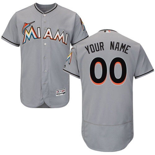 Men's Majestic Miami Marlins Customized Grey Road Flex Base Authentic Collection MLB Jersey