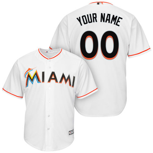 Men's Majestic Miami Marlins Customized Replica White Home Cool Base MLB Jersey