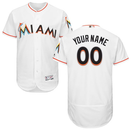Men's Majestic Miami Marlins Customized White Home Flex Base Authentic Collection MLB Jersey