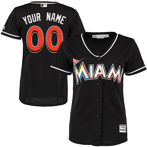 Women's Majestic Miami Marlins Customized Replica Black Alternate 2 Cool Base MLB Jersey