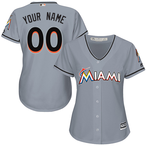 Women's Majestic Miami Marlins Customized Replica Grey Road Cool Base MLB Jersey