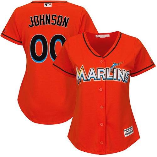 Women's Majestic Miami Marlins Customized Replica Orange Alternate 1 Cool Base MLB Jersey