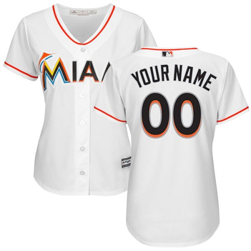 Women's Majestic Miami Marlins Customized Replica White Home Cool Base MLB Jersey